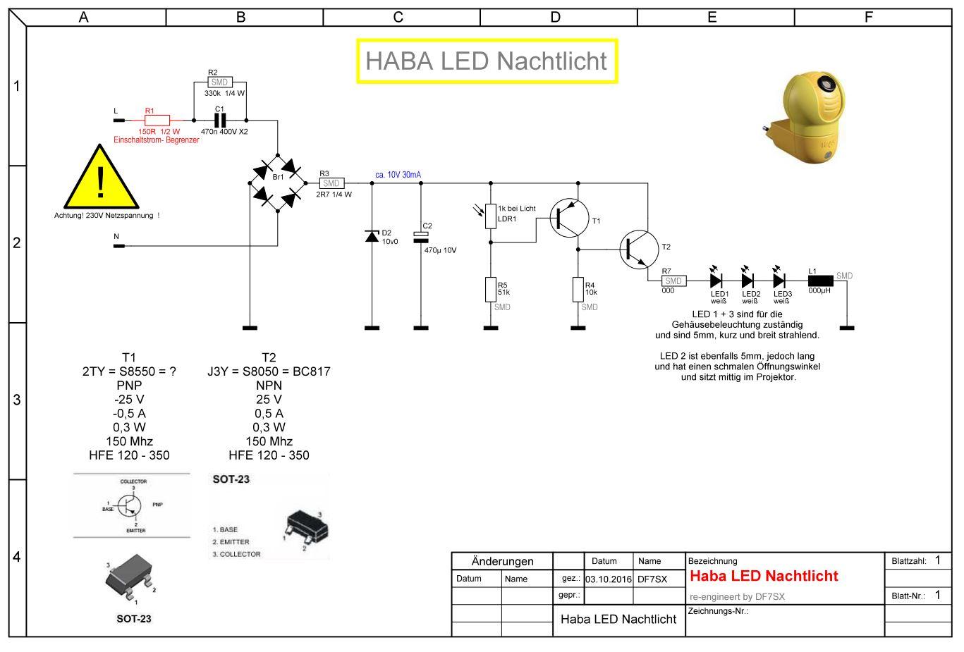 Haba LED Nachtlicht reparieren | DF7SX.de